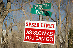 Speed limit: As slow as you can go sign, town of Paradise Valley, Nev.