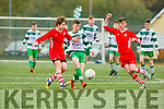 Lee Dowling  Killarney celtic takes on the Regional defense during the FAI cup on Saturday in Killarney
