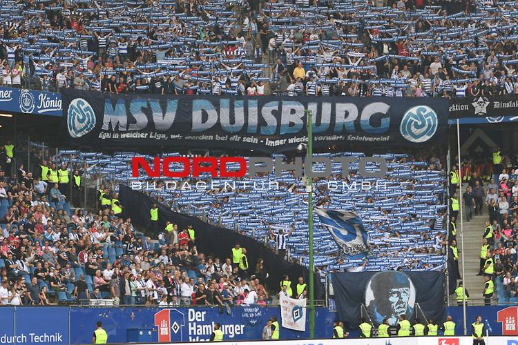 19.05.2019,  GER; 2. FBL, Hamburger SV vs MSV Duisburg ,DFL REGULATIONS PROHIBIT ANY USE OF PHOTOGRAPHS AS IMAGE SEQUENCES AND/OR QUASI-VIDEO, im Bild Feature die Fankurve der Duisburger vor dem Spiel Foto © nordphoto / Witke
