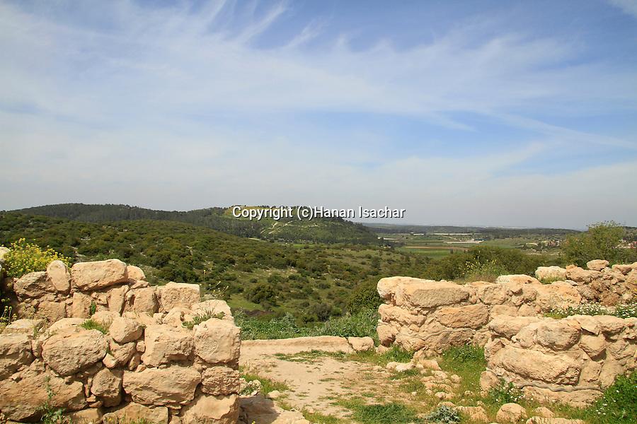 Israel, Shephelah, remains of the western City Gate at Khirbet Qeiyafa, Tel Azekah is in the background