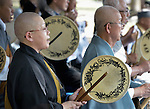 People of many faiths--including these Buddhists drumming-- came to the Japanese city of Hiroshima in August 2015 as part of the commemoration of the 70th anniversary of the U.S. dropping an atomic bomb on the Japanese city of Hiroshima.