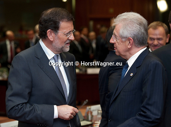 Brussels-Belgium - May 23, 2012 -- European Council, informal EU-summit meeting by Heads of State / Government; here, Mariano RAJOY BREY (le), Prime Minister of Spain, with Mario MONTI (ri), Prime Minister of Italy -- Photo: © HorstWagner.eu
