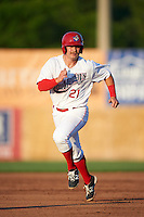 Auburn Doubledays first baseman David Kerian (21) running the bases during a game against the Williamsport Crosscutters on June 25, 2016 at Falcon Park in Auburn, New York.  Auburn defeated Williamsport 5-4.  (Mike Janes/Four Seam Images)