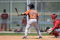 Baltimore Orioles catcher Allan de San Miguel (74) during a minor league Spring Training game against the Boston Red Sox at Buck O'Neil Complex on March 25, 2013 in Sarasota, Florida.  (Mike Janes/Four Seam Images)