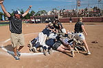 30 MAY 2016: University of Texas-Tyler teammates form a dogpile on the pitcher's mound in celebration of their National Title during the Division III Women's Softball Championship held at the James I Moyer Sports Complex in Salem, VA. University of Texas-Tyler defeated Messiah College 7-0 for the national title. Don Petersen/NCAA Photos