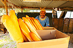 "A man selling breads in the Fayaoue village on the Ouvea island in the Loyalty islands..Ouvéa (local pronunciation: [u?ve.a]) is a commune in the Loyalty Islands Province of New Caledonia, an overseas territory of France in the Pacific Ocean. The settlement of Fayaoué [fa?jawe], on Ouvéa Island, is the administrative centre of the commune of Ouvéa..Ouvéa is made up of Ouvéa Island, the smaller Mouli Island and Faiava Island, and several islets around these three islands. All these lie among the Loyalty Islands, to the northeast of New Caledonia's mainland..Ouvéa Island is one of the Loyalty Islands, in the archipelago of New Caledonia, an overseas territory of France in the Pacific Ocean. The island is part of the commune (municipality) of Ouvéa, in the Islands Province of New Caledonia..The crescent-shaped island, which belongs to a larger atoll, is 50 km (30 miles) long and 7 km (4.5 miles) wide. It lies northeast of Grande Terre, New Caledonia's mainland..Ouvéa is home to around 3,000 people that are organized into tribes divided into Polenesian, Melanesian and Walisian by ethnic descend. The Iaai language is spoken on the island..The two native languages of Ouvéa are the Melanesian Iaai and the Polynesian Faga Uvea, which is the only Polynesian language that has taken root in New Caledonia. Speakers of Faga Uvea have fully integrated into the Kanak society, and consider themselves Kanak..Ouvéa has rich marine resources and is home to many sea turtles, species of fish, coral as well as a native parrot, the Uvea Parakeet, that can only be found on the island of Ouvéa..A large crustacaen called a ""coconut crab"" or crabe de cocotier can also be found on the islands. The large crabs live in palm tree plantations and live solely on a diet of coconuts that they crack open with their powerful claws. They are blue in colour and can grow to several kilos in size. They are a land based species and do not venture into the ocean.."