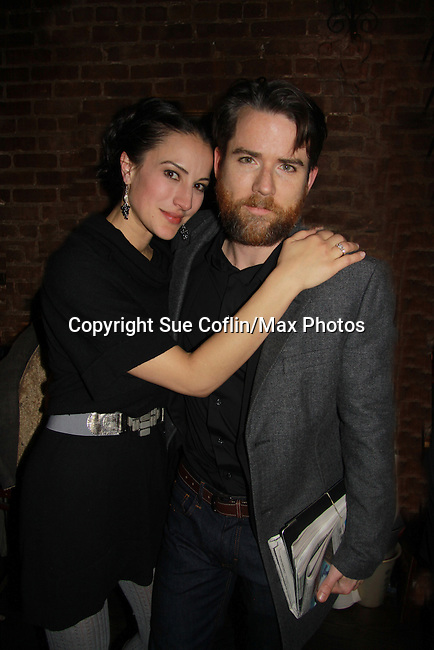 "A Benefit reading of Flutter By's and in the cast is Christian Campbell ""Bobby Warner"" AMC and wife America Olivo (General Hospital). The reading is presented by Smoke Jazz Club on January 8, 2012 with proceeds donated to Broadway Cares Equity Fights Aids.  (Photo by Sue Coflin/Max Photos)"