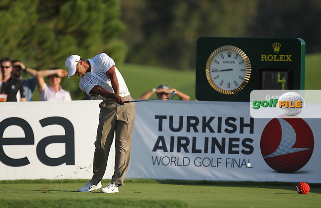 Tiger Woods (USA) on the 1st during round 3 of the Turkish Airlines World Golf Final in Antalya Golf Club, Antalya, Turkey..Picture: Fran Caffrey/www.golffile.ie.