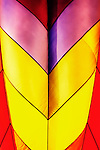 Abstract of hot air balloon with purple, red, and yellow