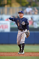 San Antonio Missions second baseman Luis Urias (3) throws the ball around after a strikeout during a game against the Tulsa Drillers on June 1, 2017 at ONEOK Field in Tulsa, Oklahoma.  Tulsa defeated San Antonio 5-4 in eleven innings.  (Mike Janes/Four Seam Images)