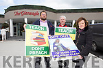 Peter Hinchcliffe Abbeydourney, Michael Nugent and Jane Donnelly from Atheist Ireland protesting outside the Teachers Union of Ireland conference in Killarney on Wednesday