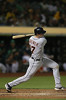 OAKLAND, CA - SEPTEMBER 6:  Grayson Greiner #17 of the Detroit Tigers bats against the Oakland Athletics during the game at the Oakland Coliseum on Friday, September 6, 2019 in Oakland, California. (Photo by Brad Mangin)