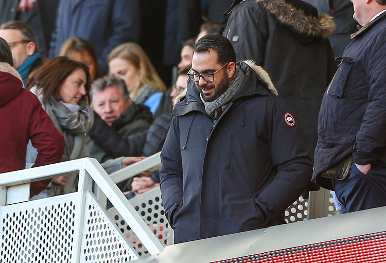 Leeds United's director of football Victor Orta takes his seat<br /> <br /> Photographer Alex Dodd/CameraSport<br /> <br /> The EFL Sky Bet Championship - Middlesbrough v Leeds United - Saturday 9th February 2019 - Riverside Stadium - Middlesbrough<br /> <br /> World Copyright &copy; 2019 CameraSport. All rights reserved. 43 Linden Ave. Countesthorpe. Leicester. England. LE8 5PG - Tel: +44 (0) 116 277 4147 - admin@camerasport.com - www.camerasport.com
