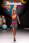 A model presents creation of Desigual Spring-Summer 2014 collection during the Madrid Fashion Week in Madrid on September 11, 2014.  PHOTOCALL3000/ DP