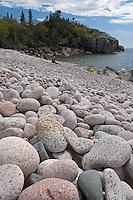 A cobblestone beach in Lake Superior Provincial Park near Wawa Ontario Canada.