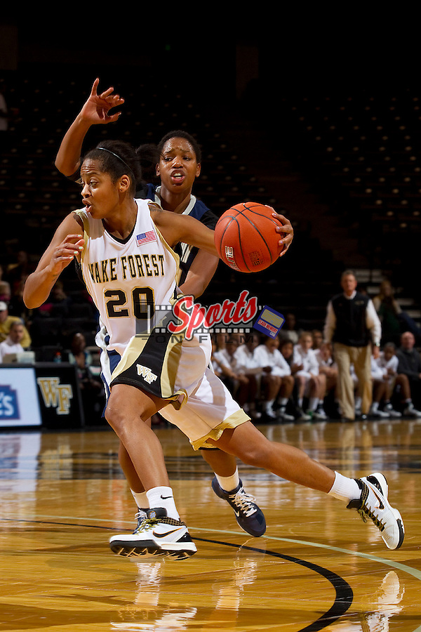 Brittany Waters #20 of the Wake Forest Demon Deacons drives to the basket during first half action against the Georgetown Hoyas at the Lawrence Joel Coliseum on December 4, 2010 in Winston-Salem, North Carolina.  Photo by Brian Westerholt / Sports On Film