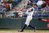 Everett Aquasox outfielder Braden Bishop (9) at bat during a game against the Spokane Indians at Everett Memorial Stadium in Everett, Washington on July 24, 2015.  Everett defeated Spokane 8-6. (Ronnie Allen/Four Seam Images)