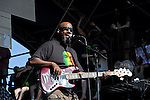 Thomas Gobena of Gogol Bordello performs during the Hangout Music Fest in Gulf Shores, Alabama on May 19, 2012.