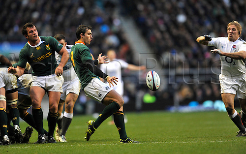 27.11.2010. Pierre Spies of South Africa clears the ball. International Rugby England vs South Africa at Twickenham Stadium, England.
