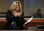 Nevada Assemblywoman Michele Fiore, R-Las Vegas, works on the Assembly floor at the Legislative Building in Carson City, Nev., on Tuesday, April 23, 2013. .Photo by Cathleen Allison