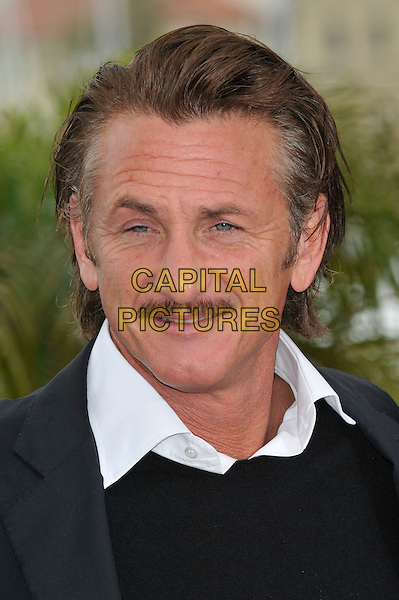 Sean Penn.'Haiti Carnival in Cannes' photocall at the 65th  Cannes Film Festival, France 18th May 2012.portrait headshot  mustache moustache facial hair white shirt collar black .CAP/PL.©Phil Loftus/Capital Pictures.