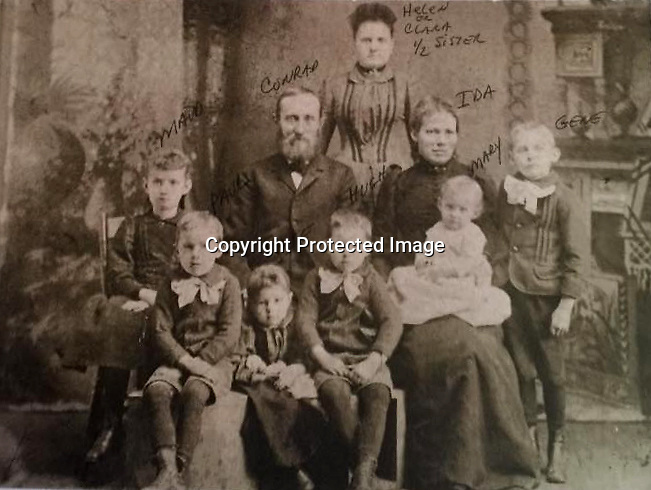 Conrad Jacob Litzinger and family in 1891<br /> <br /> center: Conrad Jacob Litzinger and wife Ida. <br /> behind: Conrad's 1/2 sister Helen or Clara<br /> kids from left to right: Maude, Paul, Kate, Hugh, Mary, and Eugene Joseph<br /> <br /> 1891<br /> <br /> Conrad&gt;Leonard&gt;John &quot;Jacob&quot;&gt;Jacob D.&gt;Conrad Jacob