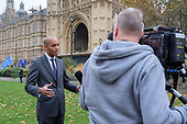 Chucka Ummuna MP interviewed on College Green, Westminster, London, on the day of four ministerial resignations over Brexit deal.