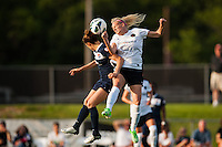 Sky Blue FC forward Kelley O'Hara (19)  goes up for a header with Portland Thorns defender Kat Williamson (5). Sky Blue FC and the Portland Thorns played to a 0-0 tie during a National Women's Soccer League (NWSL) match at Yurcak Field in Piscataway, NJ, on June 22, 2013.