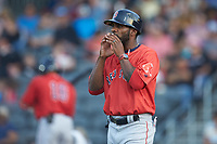 Salem Red Sox manager Corey Wimberly (3) coaches third base during the game against the Fayetteville Woodpeckers at Segra Stadium on May 15, 2019 in Fayetteville, North Carolina. The Woodpeckers defeated the Red Sox 6-2. (Brian Westerholt/Four Seam Images)