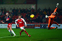 Fleetwood Town's Harrison Biggins' attempt on goal is saved by Doncaster Rovers' Ian Lawlor<br /> <br /> Photographer Richard Martin-Roberts/CameraSport<br /> <br /> The EFL Sky Bet League One - Fleetwood Town v Doncaster Rovers - Wednesday 26th December 2018 - Highbury Stadium - Fleetwood<br /> <br /> World Copyright &not;&copy; 2018 CameraSport. All rights reserved. 43 Linden Ave. Countesthorpe. Leicester. England. LE8 5PG - Tel: +44 (0) 116 277 4147 - admin@camerasport.com - www.camerasport.com