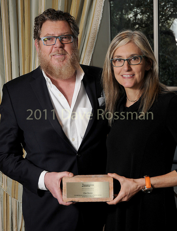 """Winner Chas Haynes and his wife Sharon at Preservation Houston's """"The Cornerstone Dinner""""  presenting the 2018 Good Brick Awards at the River Oaks Country Club Friday March 02,2018. (Dave Rossman Photo)"""