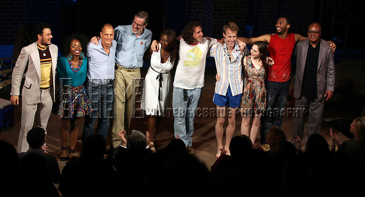 Lee Osorio, Marsha Stephanie Blake, Woody Harrelson, Nick Wyman, Shamika Cotton, Brandon Coffey, David Coomber, Shannon Garland, Tyler Jacob Rollinson & Frankie Hyman during the Opening Night Performance Curtain Call for 'Bullet For Adolf' at the New World Stages in New York City on 8/8/2012.