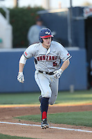 Dustin Breshears (5) of the Gonzaga Bulldogs runs to first base during a game against the Loyola Marymount Lions at Page Stadium on March 27, 2015 in Los Angeles, California. Loyola Marymount defeated Gonzaga 6-5.(Larry Goren/Four Seam Images)