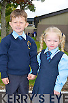 Ciaran Boyne minds his little sister Marianna on their first day of school in Sheila Goulding class at St Oliver's NS, Killarney on Thursday..