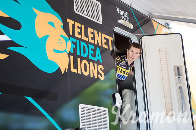 Lars van der Haar (NED/Telenet Fidea Lions) peeping out the camper before start<br /> <br /> Baloise Belgium Tour 2017<br /> Stage 3: ITT Beveren - Beveren (13.4km)