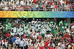 13 August 2008: A section of Nigeria fans cheered and played trumpets all game.  The men's Olympic team of Nigeria defeated the men's Olympic soccer team of the United States 2-1 at Beijing Workers' Stadium in Beijing, China in a Group B round-robin match in the Men's Olympic Football competition.