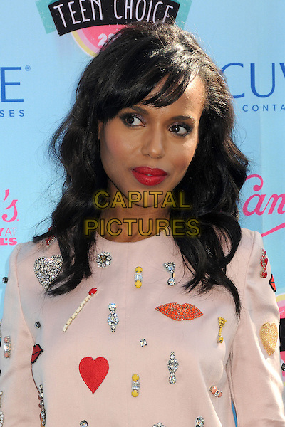Kerry Washington<br /> 2013 Teen Choice Awards - Arrivals held at Gibson Amphitheatre, Universal City, California, USA.<br /> August 11th, 2013<br /> headshot portrait red lipstick white lips print beads beaded<br /> CAP/ADM/BP<br /> &copy;Byron Purvis/AdMedia/Capital Pictures