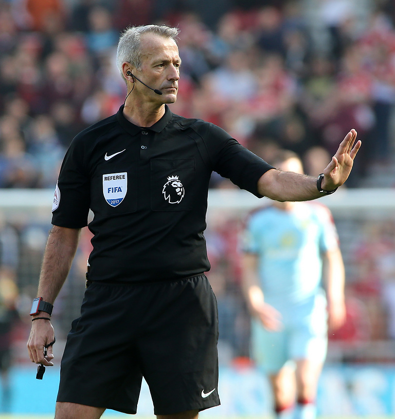 Referee Martin Atkinson in action<br /> <br /> Photographer David Shipman/CameraSport<br /> <br /> The Premier League - Middlesbrough v Burnley - Saturday 8th April 2017 - Riverside Stadium - Middlesbrough<br /> <br /> World Copyright &copy; 2017 CameraSport. All rights reserved. 43 Linden Ave. Countesthorpe. Leicester. England. LE8 5PG - Tel: +44 (0) 116 277 4147 - admin@camerasport.com - www.camerasport.com