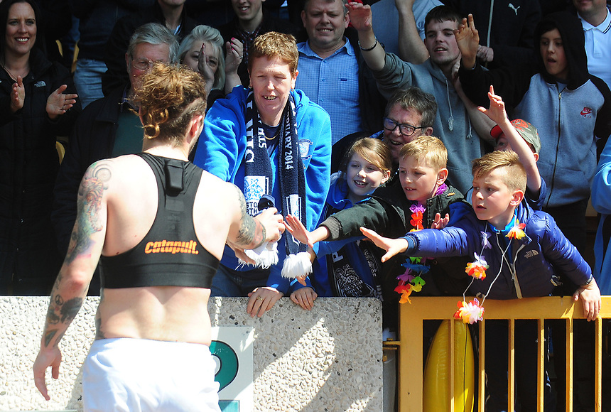 Preston North End's Stevie May hands his shirt to young fans<br /> <br /> Photographer Kevin Barnes/CameraSport<br /> <br /> The EFL Sky Bet Championship - Wolverhampton Wanderers v Preston North End - Sunday 7th May 2017 - Molineux Stadium <br /> <br /> World Copyright &copy; 2017 CameraSport. All rights reserved. 43 Linden Ave. Countesthorpe. Leicester. England. LE8 5PG - Tel: +44 (0) 116 277 4147 - admin@camerasport.com - www.camerasport.com