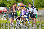 CHARITY: Enjoyng the Life Boat RNLI Charity cycle on Saturday morning from O'Donnells Bar & Restaurant, Mounthawk, Tralee, :L-r: Elaine Drumm, Aoife Cleary, Denis Keane, Sarah Hunt and Shane Finn..................................... ....