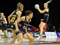 26.07.2015 Silver Ferns Katrina Grant in action during the Silver Fern v South Africa netball test match played at Claudelands Arena in Hamilton. Mandatory Photo Credit ©Michael Bradley.