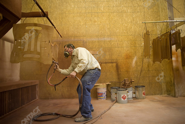 "Fundamentalist Mormon group F.L.D.S.,  Edson Jessop working in the wood shop ""Yearning for Zion"" compound in Eldorado, Texas, USA, February 11, 2009"