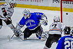 29 December 2018: University of Alabama Huntsville Charger Goaltender Jake Theut, a Senior from Washington, MI, gives up a third period goal to the Northeastern University Huskies at Gutterson Fieldhouse in Burlington, Vermont. The Huskies shut out the Chargers 2-0 in the Catamount Cup tournament at the University of Vermont. Mandatory Credit: Ed Wolfstein Photo *** RAW (NEF) Image File Available ***