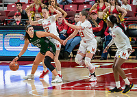 COLLEGE PARK, MD - DECEMBER 8: Sara Vujacic #32 and Faith Masonius #13 of Maryland defend against Stephanie Karcz #10 of Loyola during a game between Loyola University and University of Maryland at Xfinity Center on December 8, 2019 in College Park, Maryland.