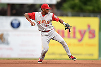 Brooklyn Cyclones shortstop Amed Rosario (1) throws to first during a game against the Batavia Muckdogs on August 11, 2014 at Dwyer Stadium in Batavia, New York.  Batavia defeated Brooklyn 4-3.  (Mike Janes/Four Seam Images)