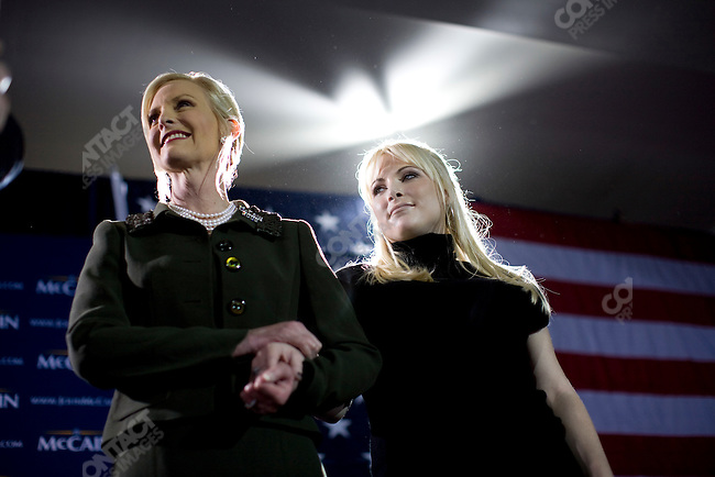 Cindy McCain wife of  Republican presidential candidate, Senator John McCain, and daughter Meghan, at a McCain victory party after the Florida primary, Miami, Florida, January 29, 2008.