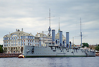 The Aurora cruiser where the Russian Revolution started in 1917 in Petrograd now named St Petersburg, Russia