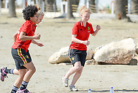 20180302 - LARNACA , CYPRUS :  Belgian Charlotte Tison (r) and Kassandra Missipo (left) pictured during a Muscular warm up training session on the beach before a women's soccer game between The Belgian Red Flames and Spain , on friday 2 March 2018 on the CTO Beach in Larnaca , Cyprus . The game will be the second game in group B for Belgium during the Cyprus Womens Cup , a prestigious women soccer tournament as a preparation on the World Cup 2019 qualification duels. PHOTO SPORTPIX.BE | DAVID CATRY