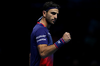 15th November 2019; 02 Arena. London, England; Nitto ATP Tennis Finals; Robert Farah (COL) celebrates winning a point in his doubles  match against Kevin Krawietz (GER) and Andreas Mies (GER) - Editorial Use