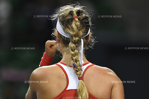 Victoria Azarenka (BLR), APRIL 18, 2015 - Tennis : Victoria Azarenka of Belarus celebrates in her singles match during the Fed Cup World Group II play-off between Japan 2-3 Belarus at Ariake Coliseum in Tokyo, Japan. (Photo by AFLO)